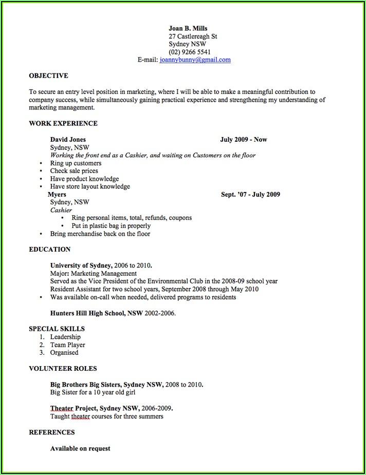 Resume Sample Australia Style