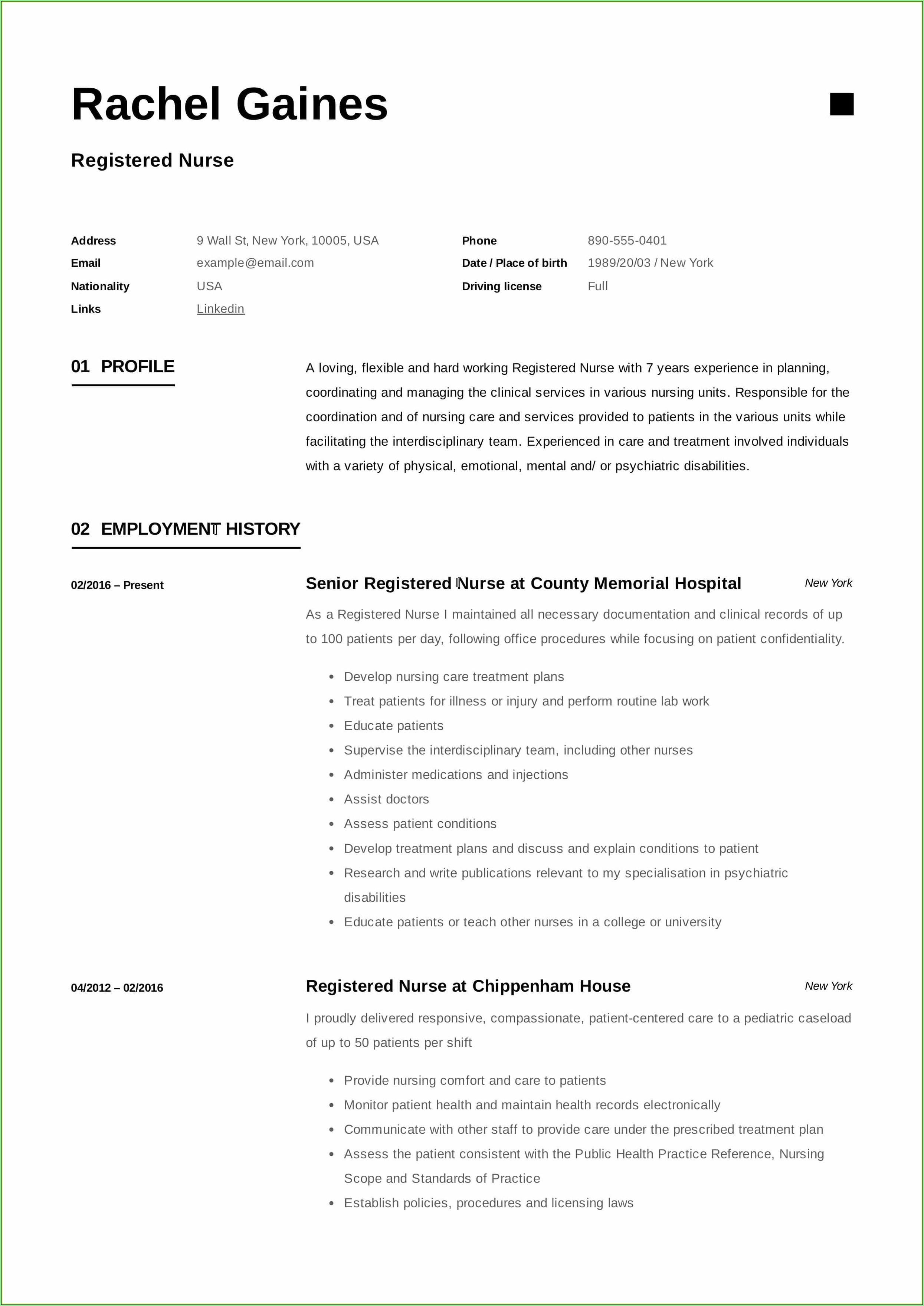 Resume Sample For Registered Nurse Position