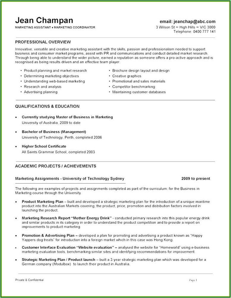 Resume Samples Australia Free