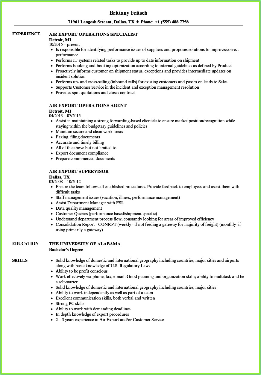 Resume Samples For Freight Forwarding Company'