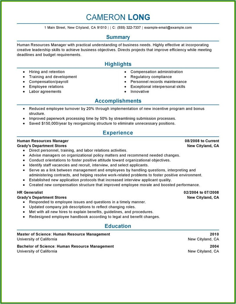 Resume Samples For Hr Professionals