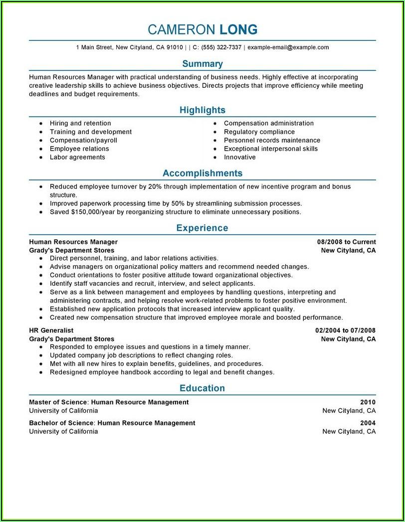 Resume Samples For Hr Professionals