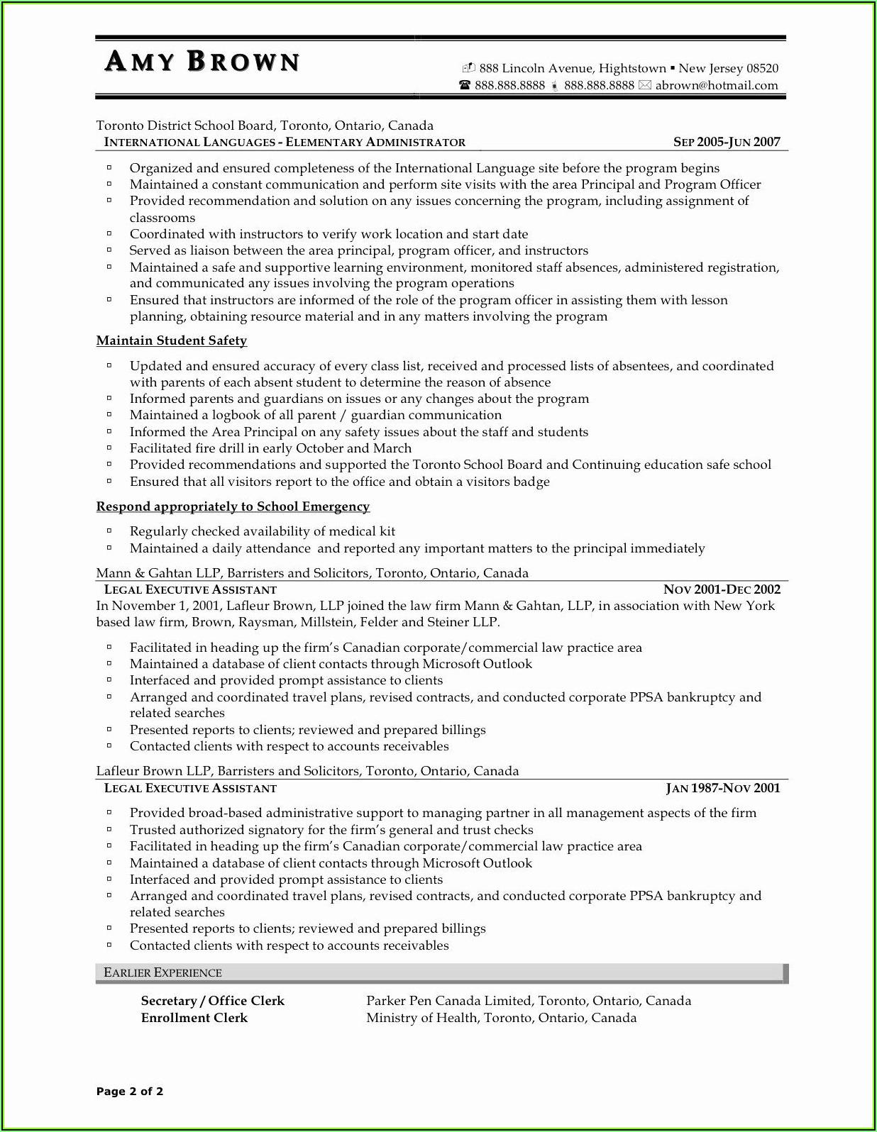 Resume Template Canada 2018