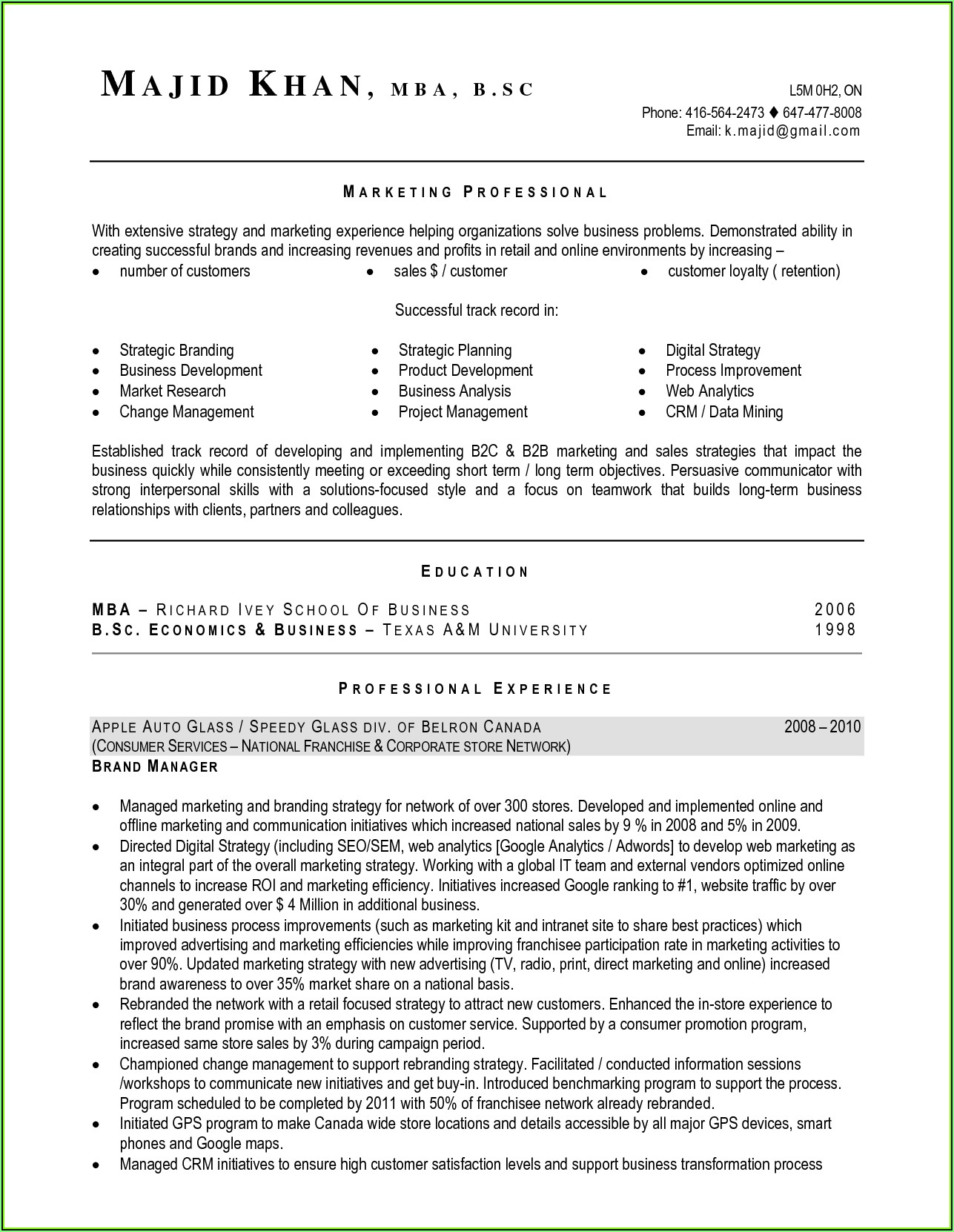 Resume Template Canada Free