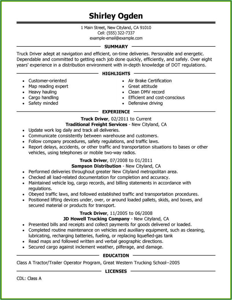 Resume Template For Truck Driving Job