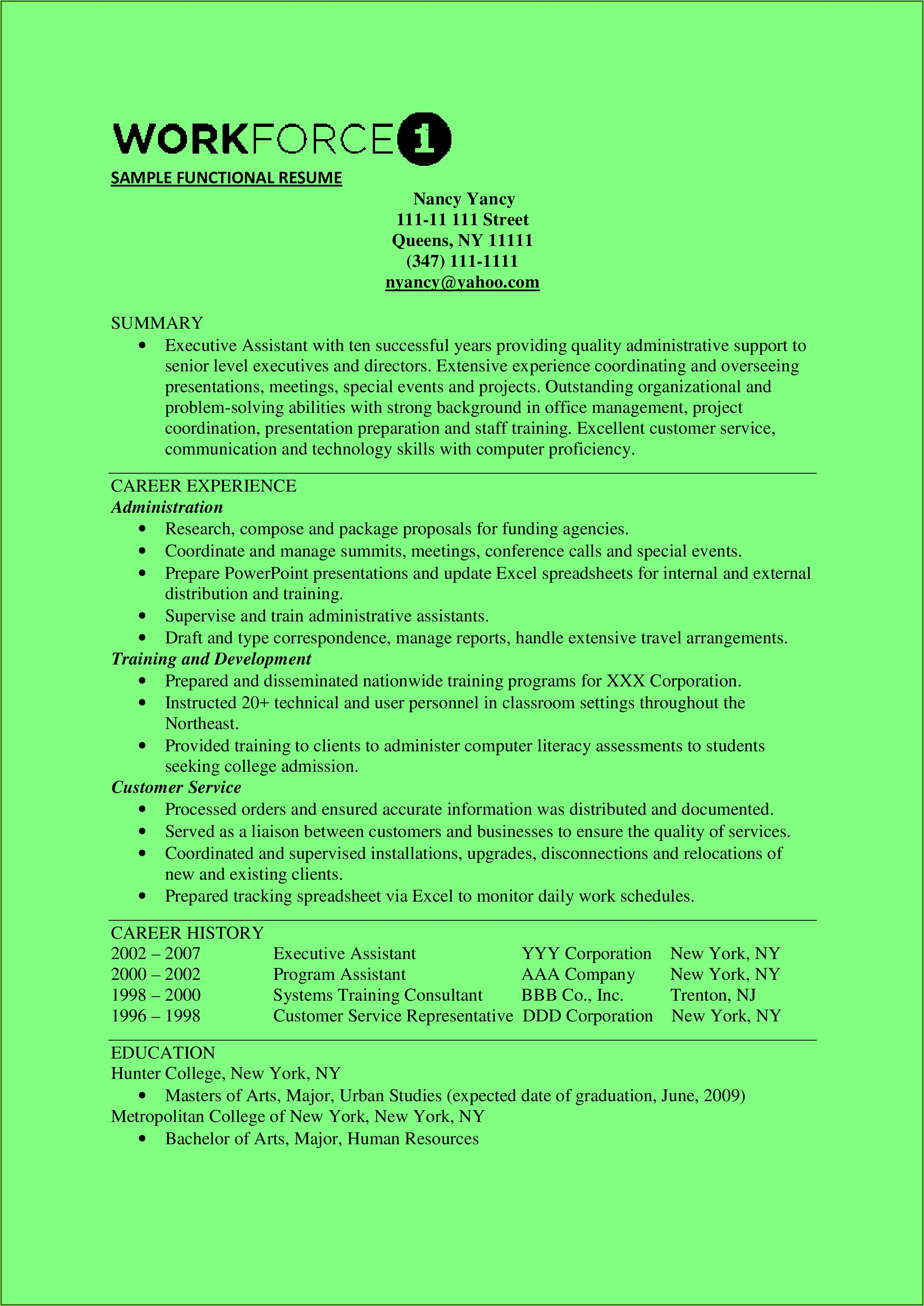 Resume Templates Executive Assistant