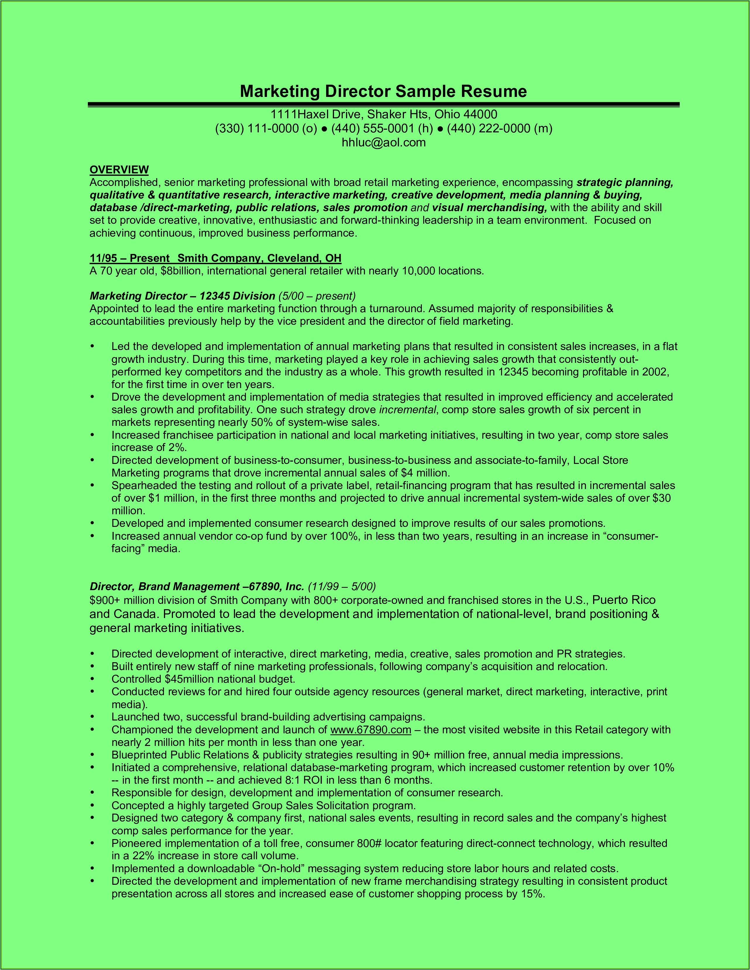 Resume Templates Executive Director