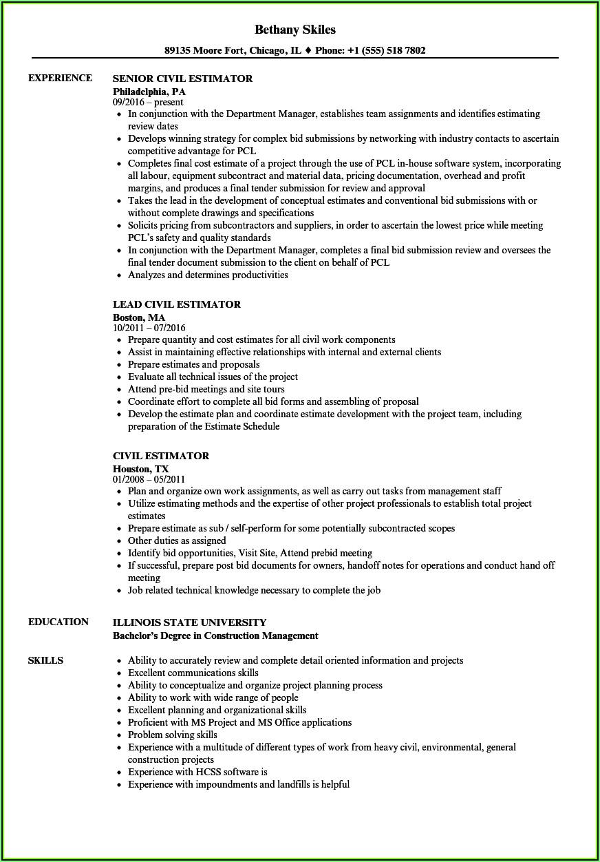 Resume Templates For Construction Estimators