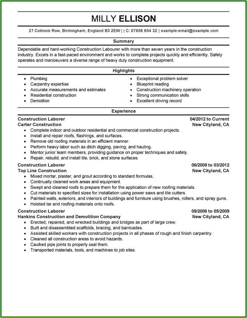 Resume Templates For Construction Workers