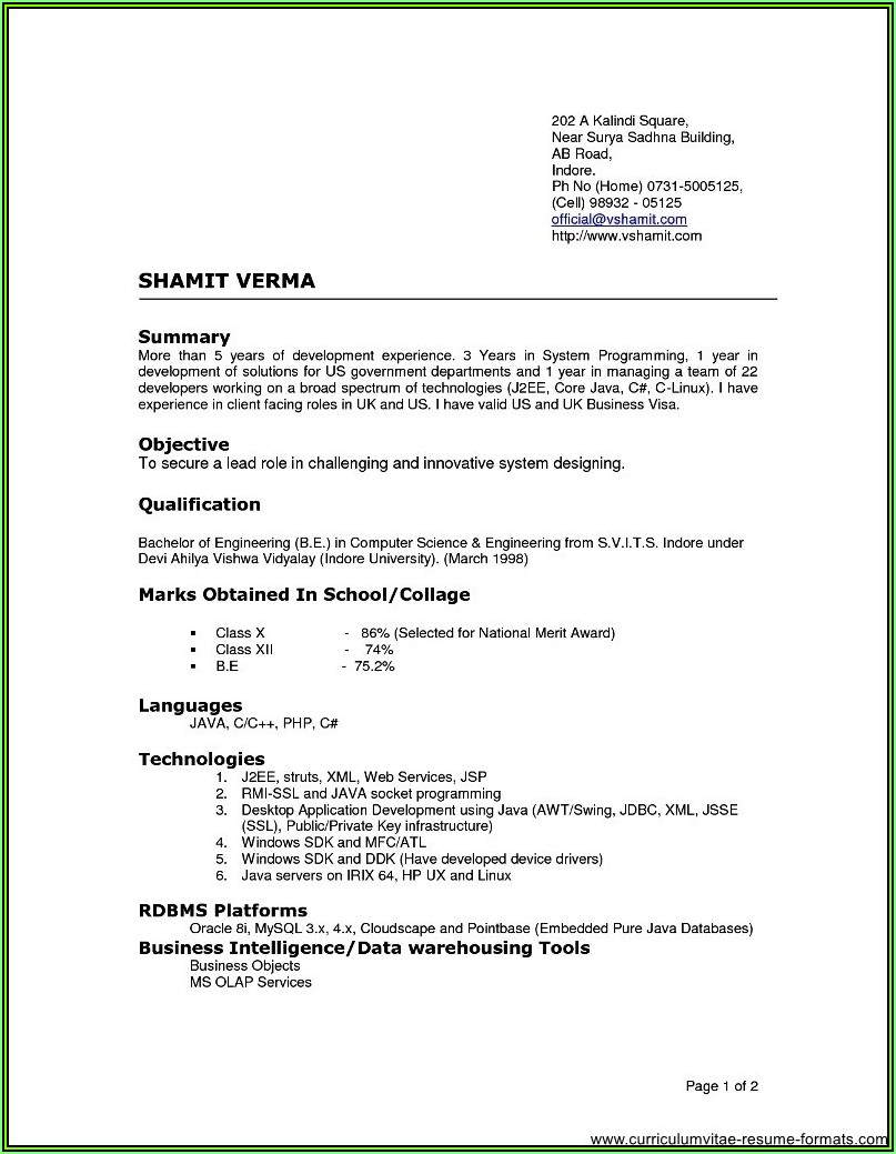 Resume Templates For Experienced Software Professionals