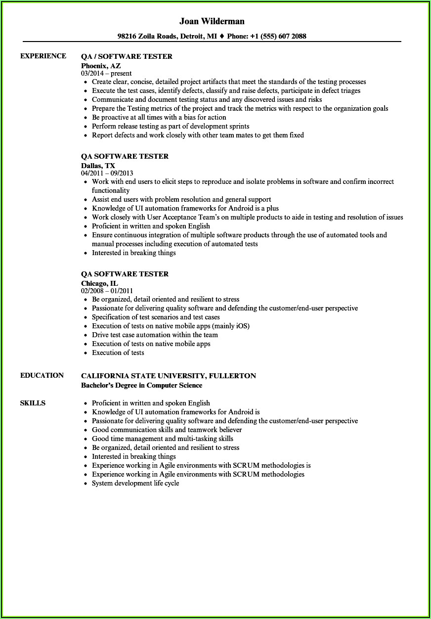 Resume Templates For Experienced Software Testing Professionals