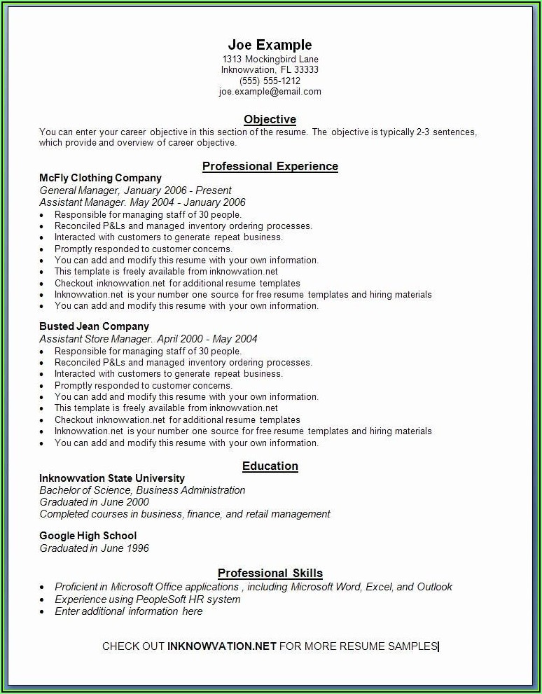 Resume Templates Online Free Printable