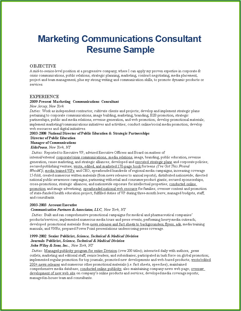 Resume Writing Communication Consultant