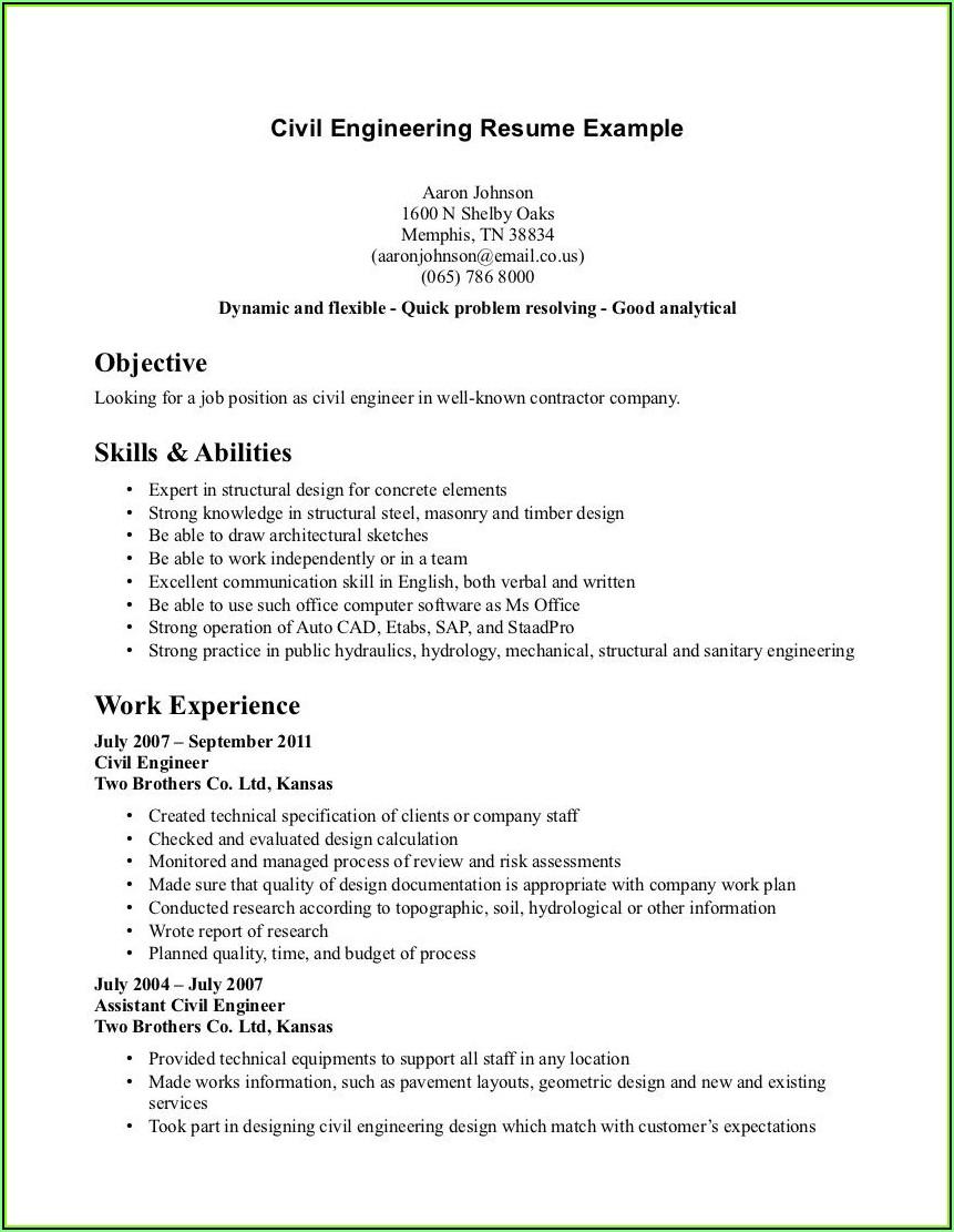 Resume Writing For Civil Engineer
