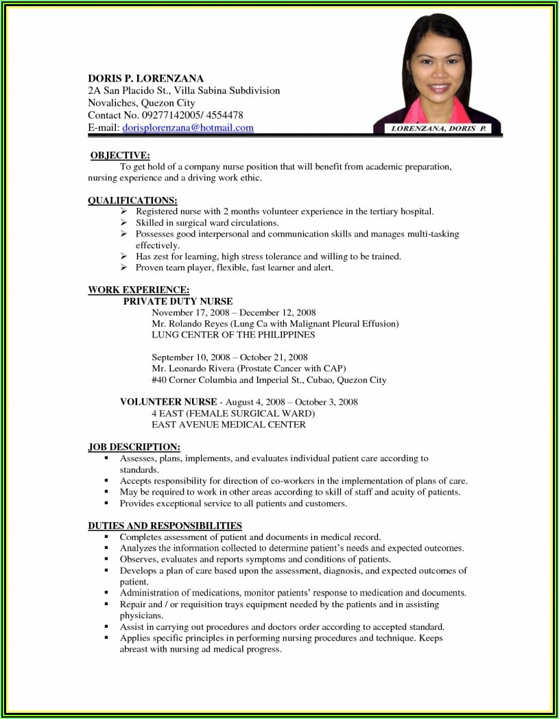 Resume Writing Format