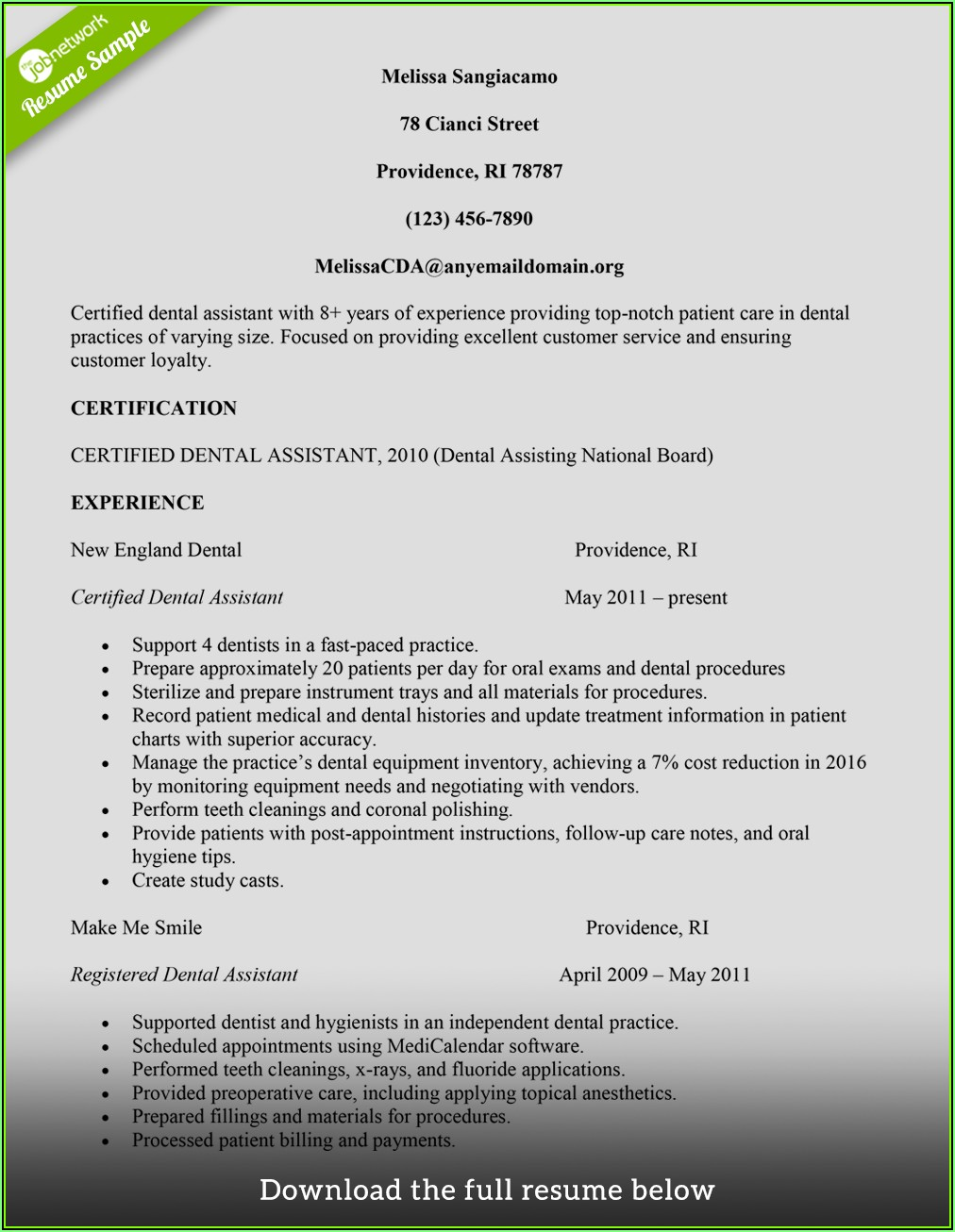 Resumes For Dental Assistants With No Experience