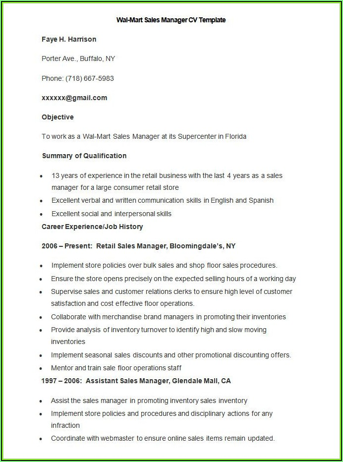 Sales Cv Template Microsoft Word