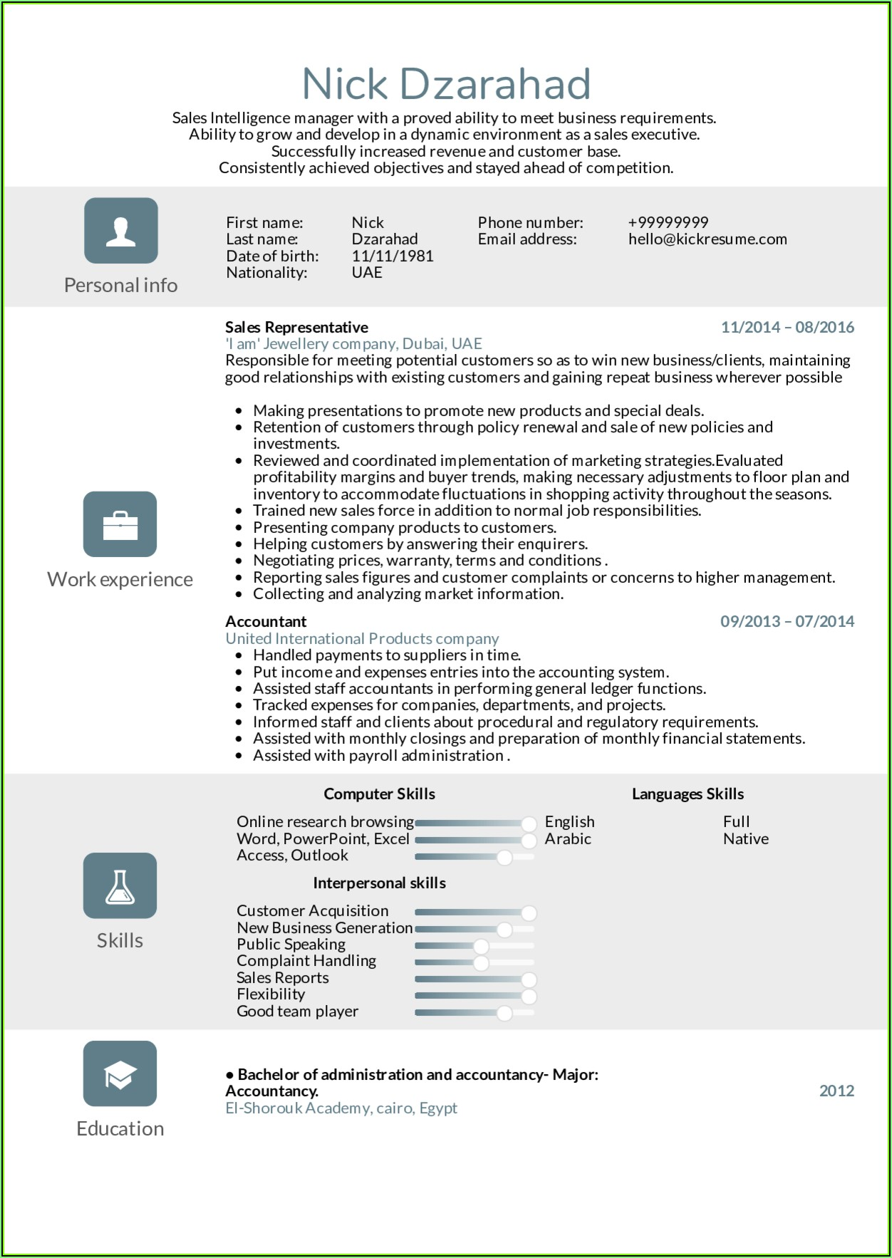 Sales Representative Resume Template