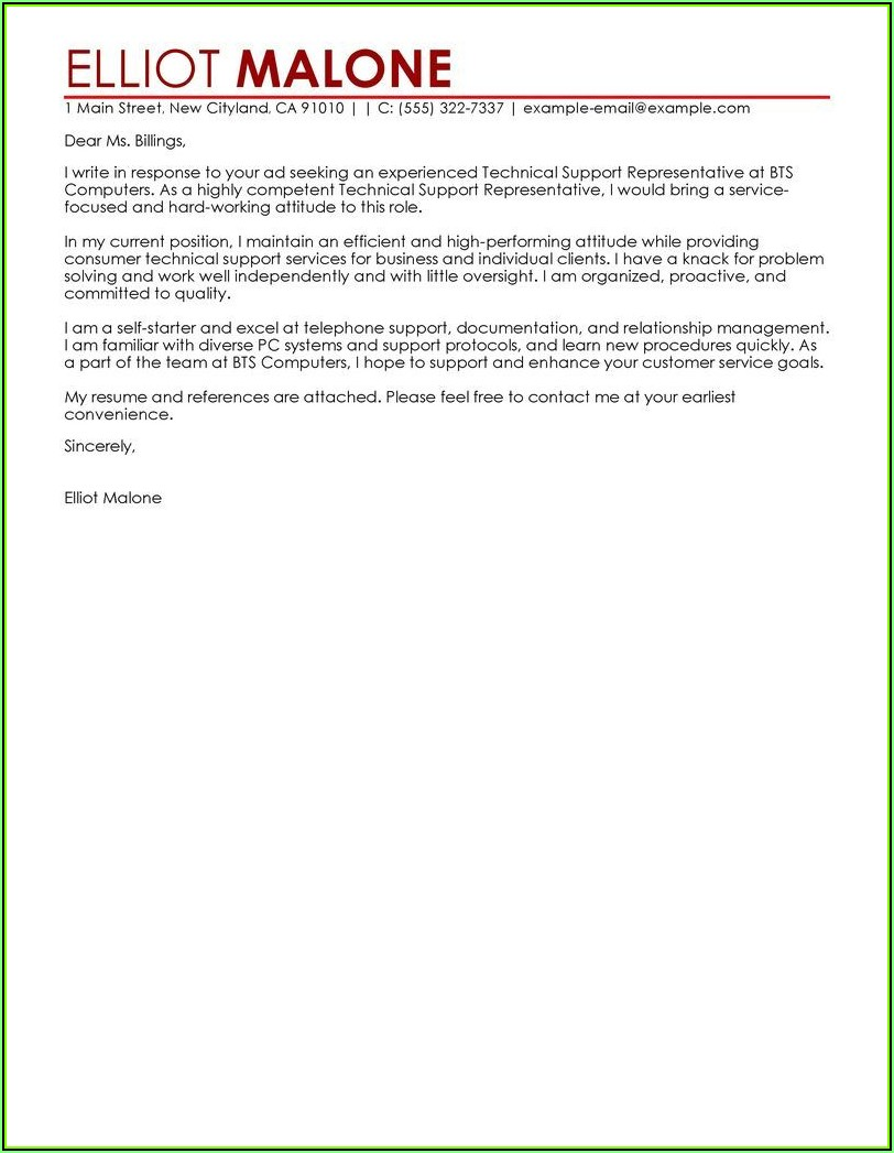 Sample Cover Letter Examples For Resume