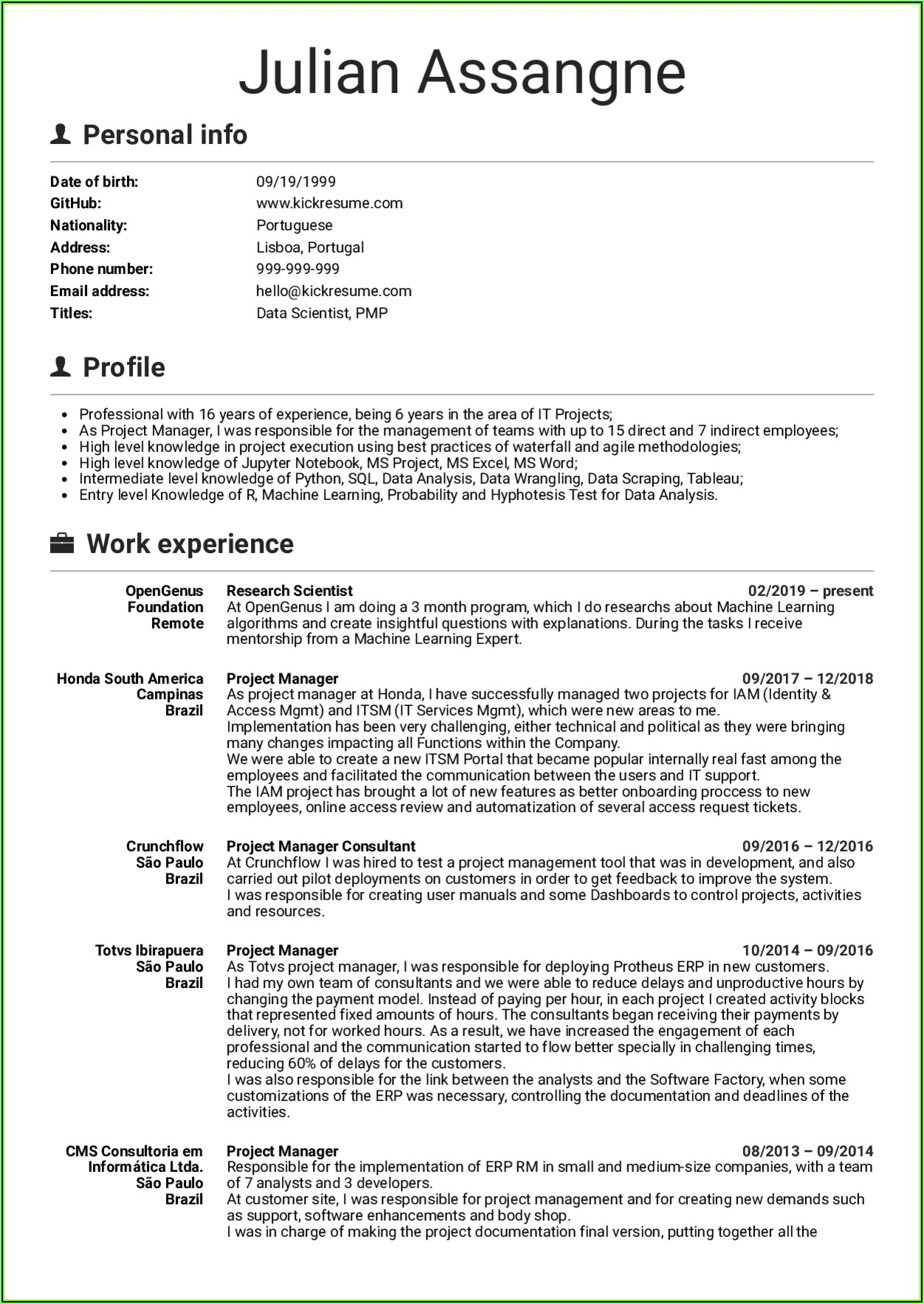 Sample Cv Of Senior Project Manager