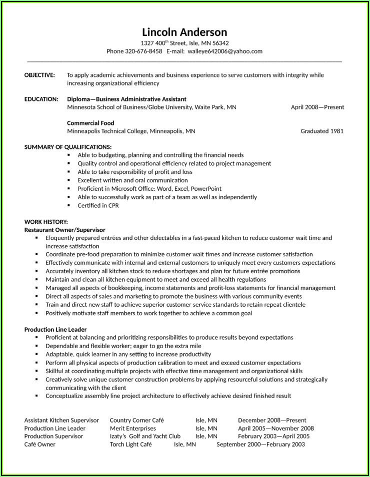Sample Housekeeping Resume Template
