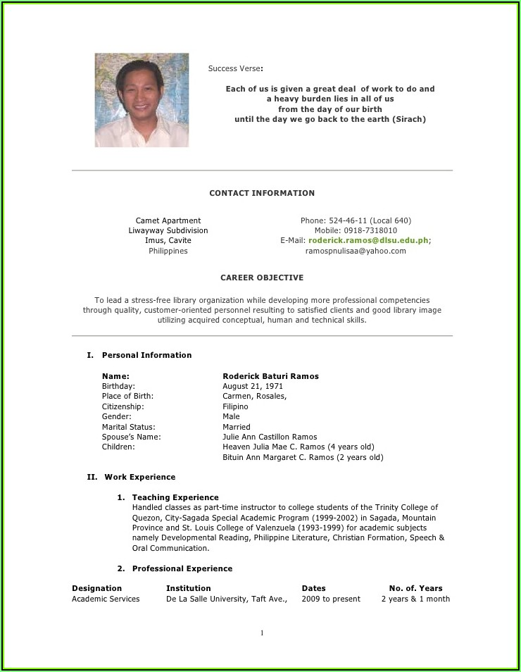 Sample Of Curriculum Vitae Format