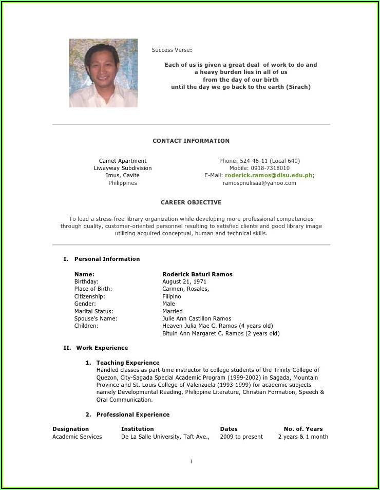 Sample Of Curriculum Vitae Format