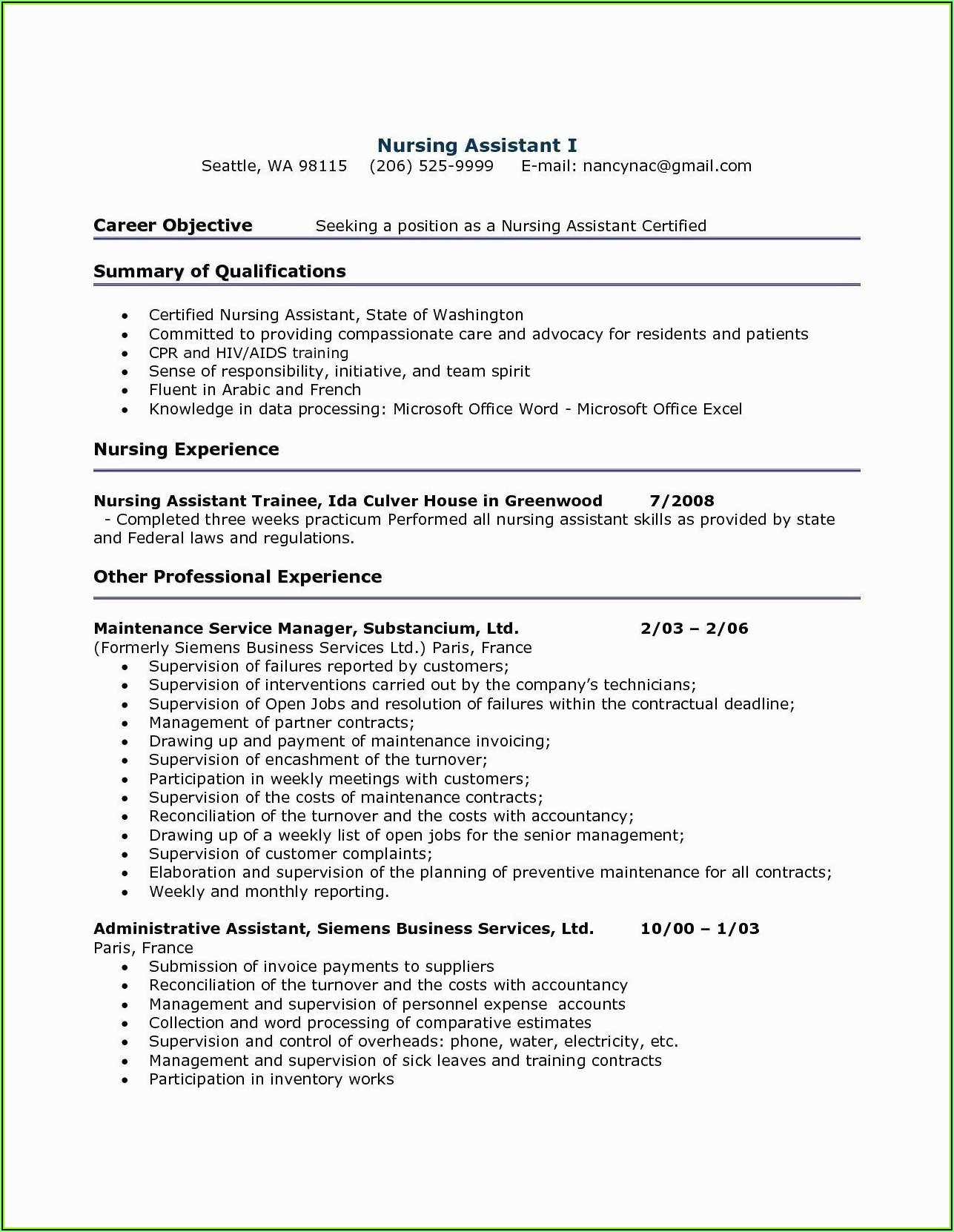 Sample Of Resume For Nurses With Job Description
