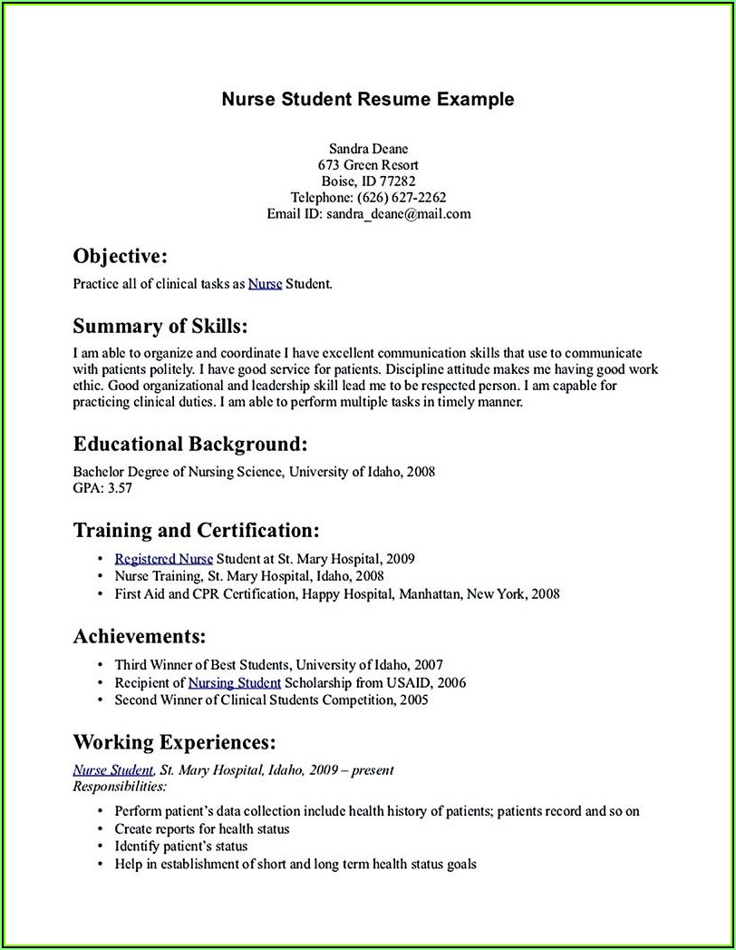 Sample Of Resume For Nurses With No Experience