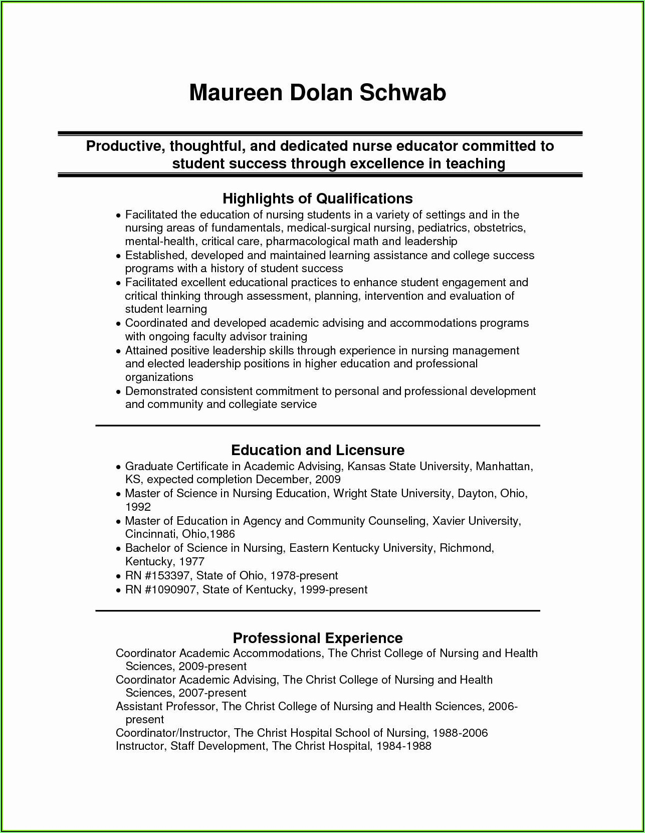 Sample Of Resume For Nurses