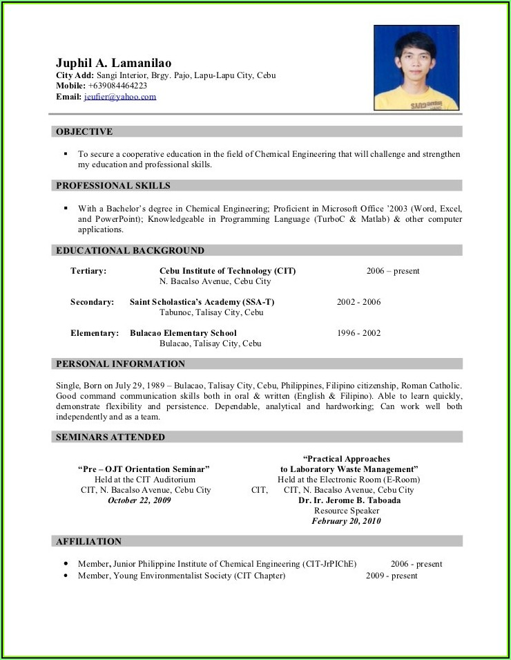 Sample Of Resume Format In Word