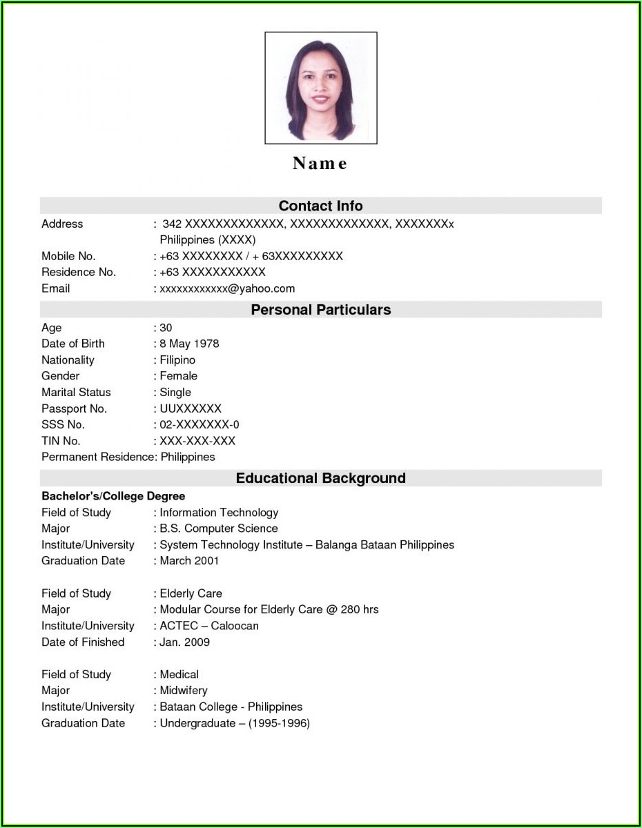 Sample Of Resume Format