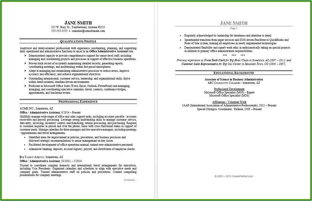 Sample Of Resume Templates Microsoft