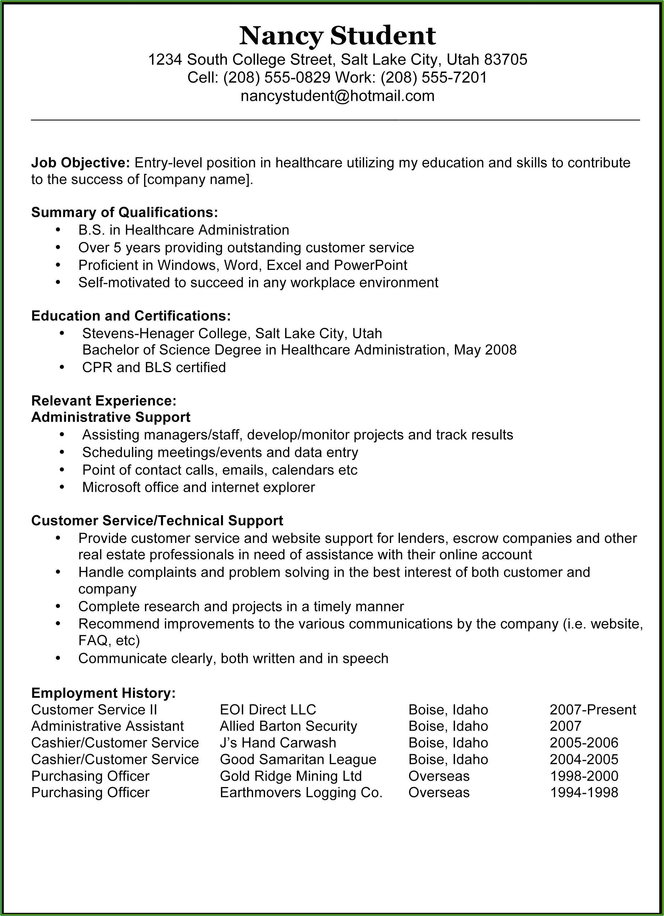 Sample Of Resume Templates