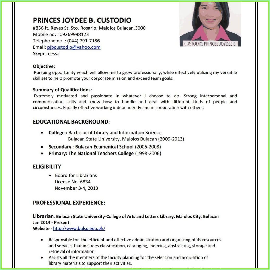 Sample Of Resume Writing