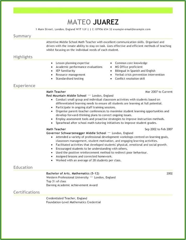 Sample Resume Australia For Student