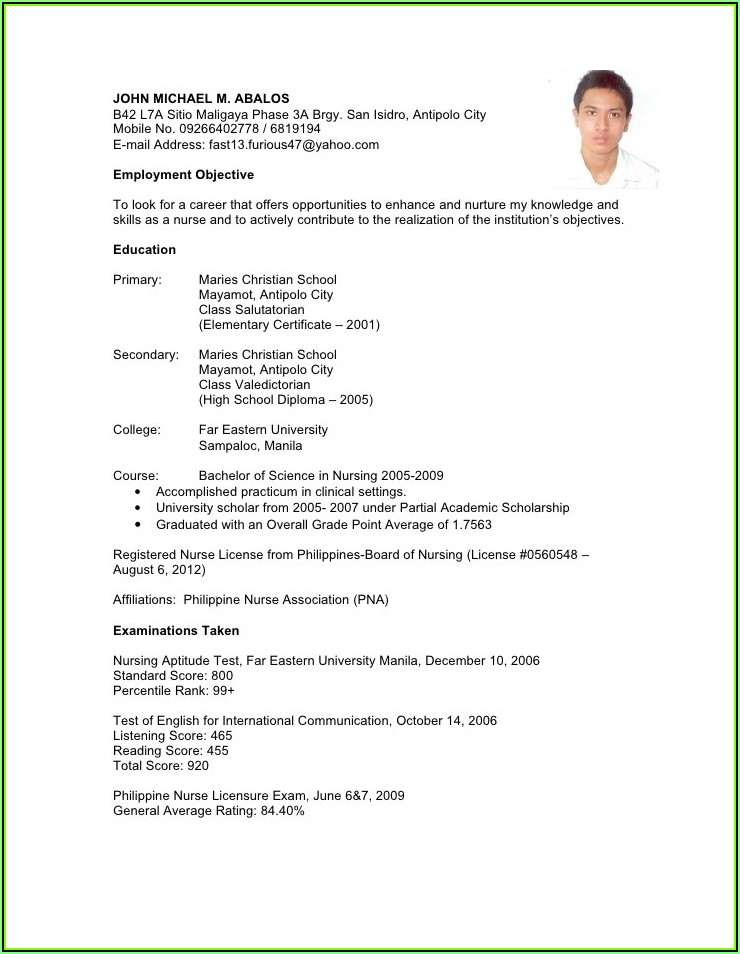 Sample Resume Cover Letter For Nursing Position