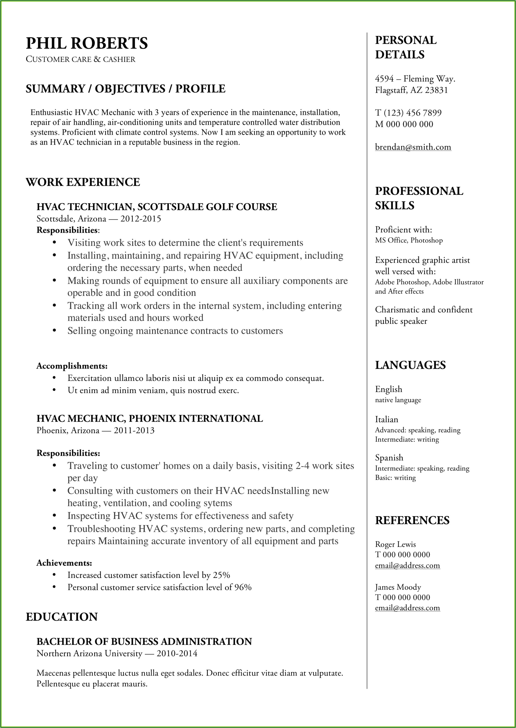 Sample Resume For Hvac Service Technician