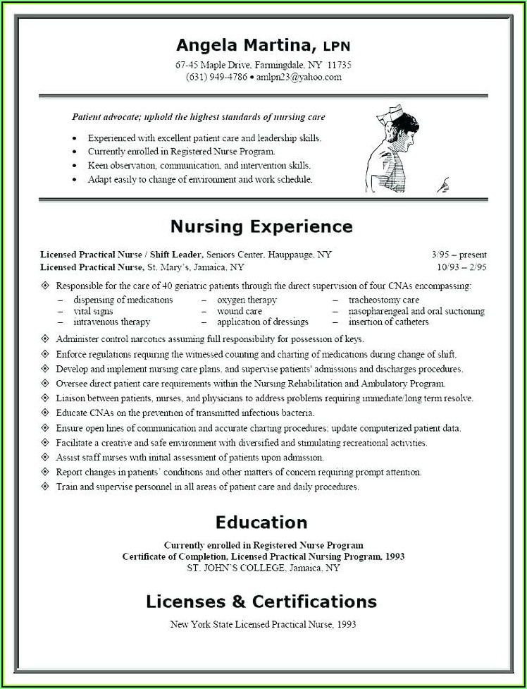 Sample Resume For Nurse With Experience Word Format