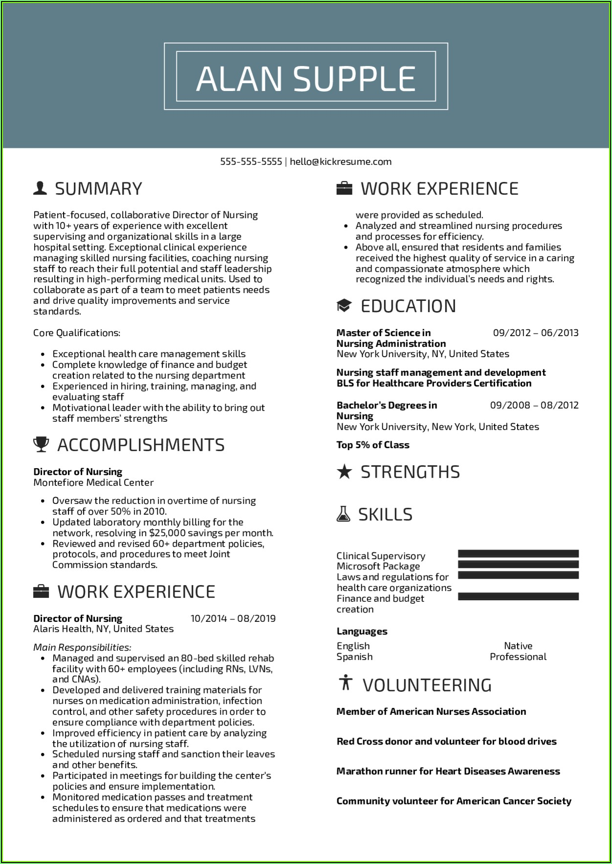 Sample Resume For Nursing Director Position