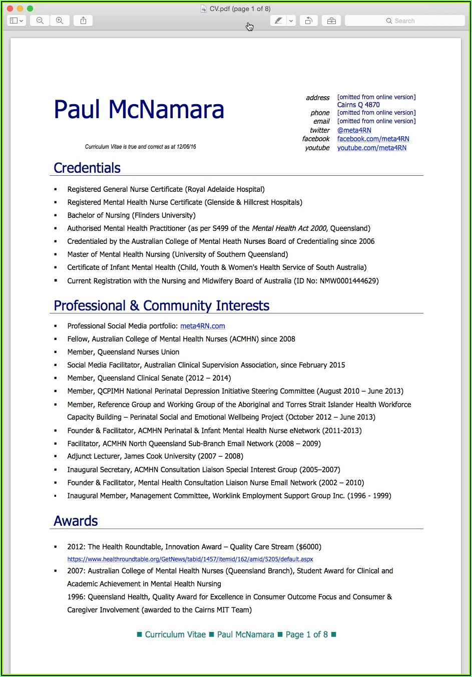 Sample Resume For Registered Nurse In Australia