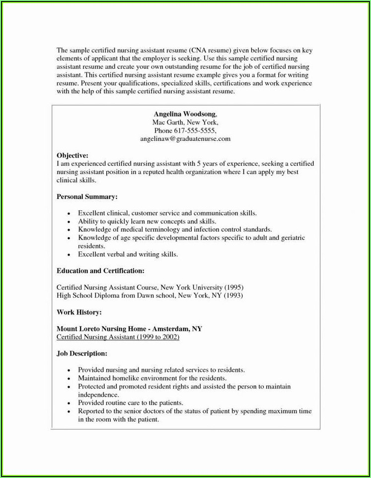 Sample Resume For Registered Nurse With No Experience