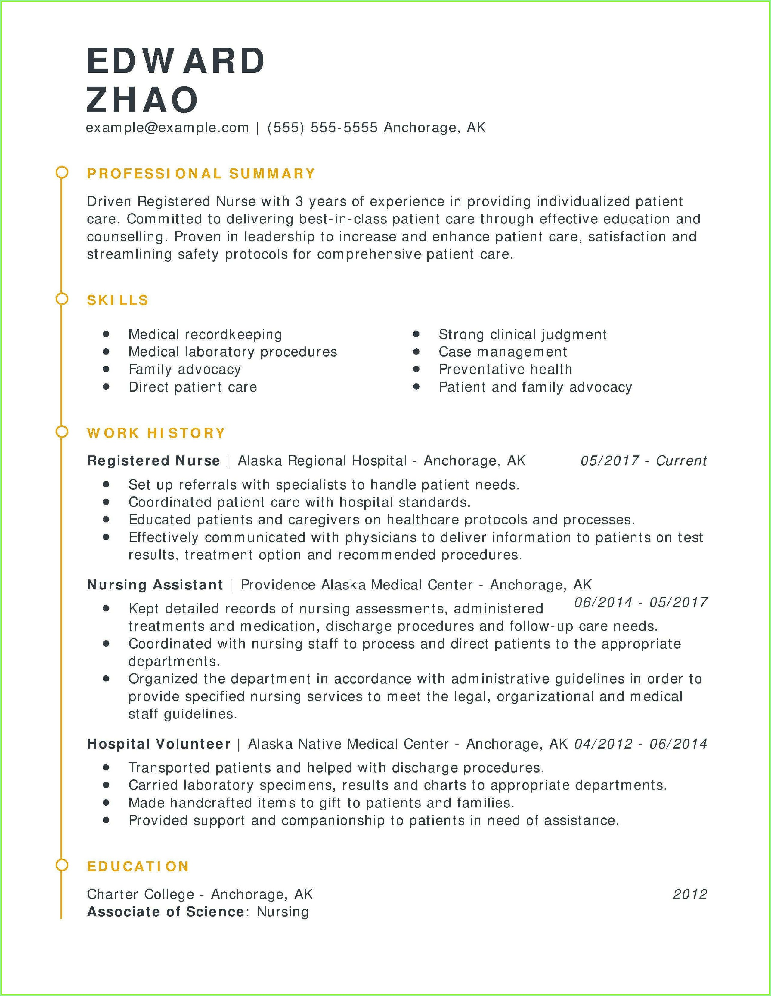 Sample Resume For Registered Nurses With Experience
