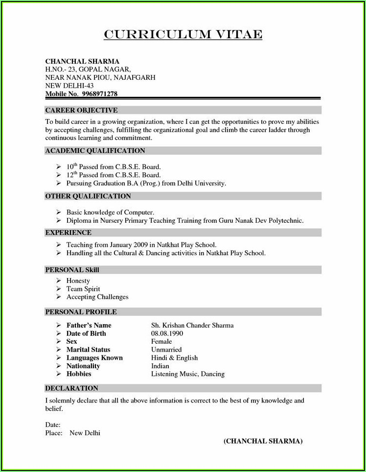 Sample Resume Format Download India