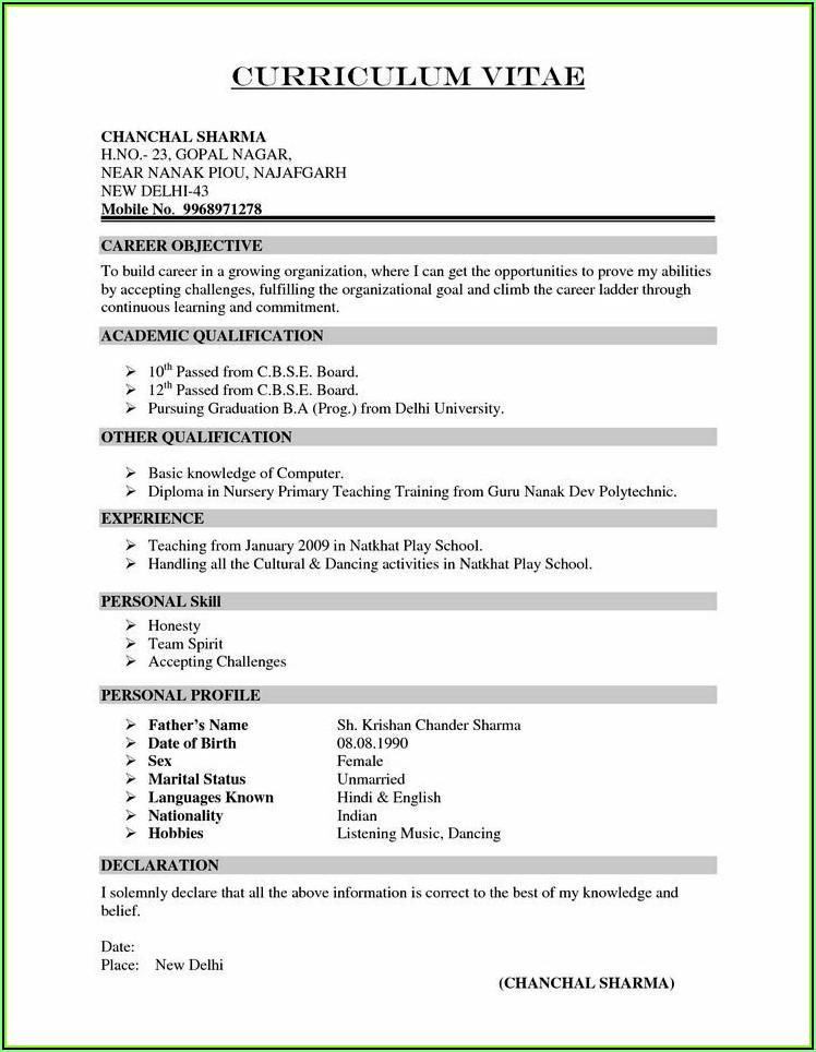 Sample Resume Format Download India
