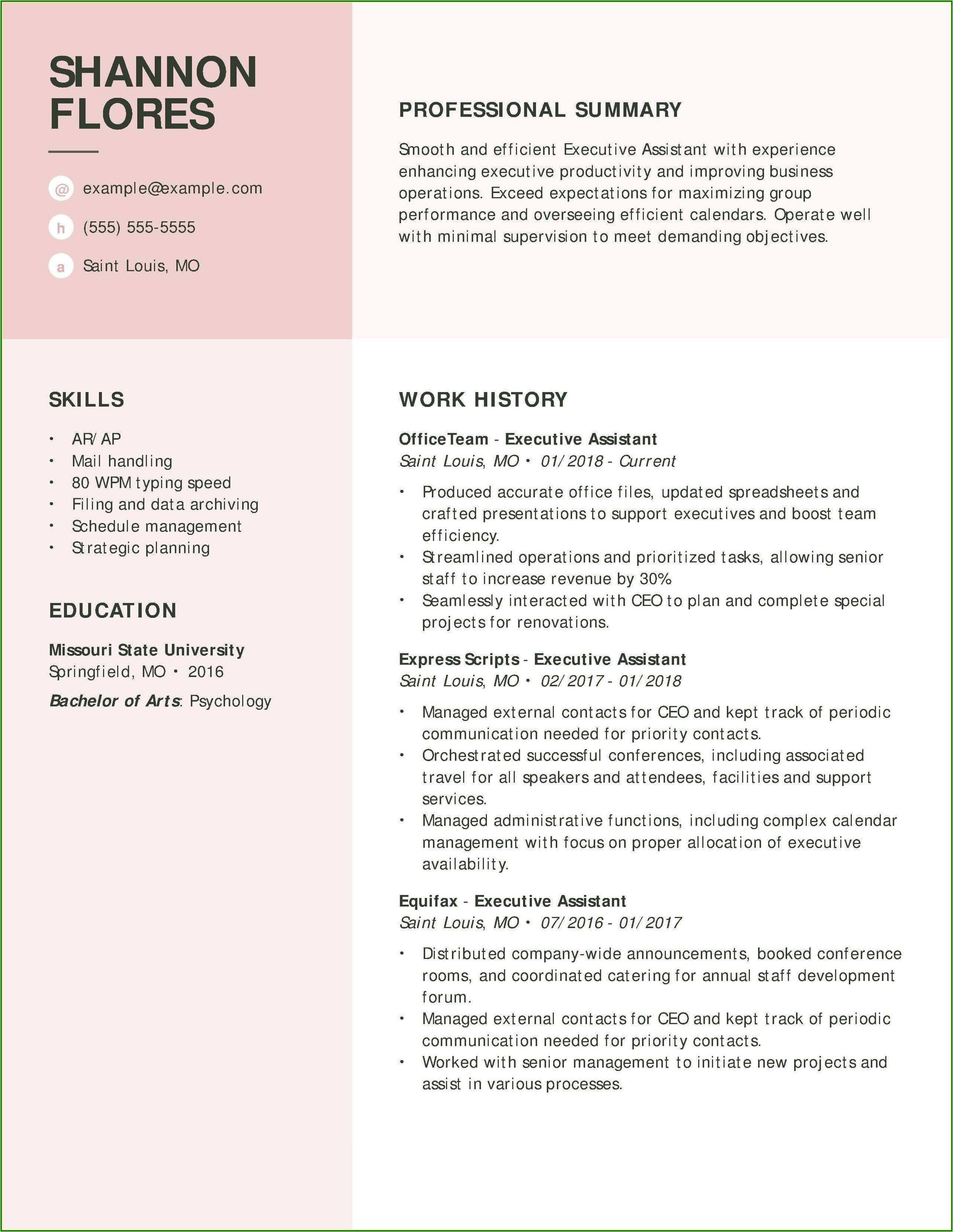 Sample Resume Format For Admin Executive