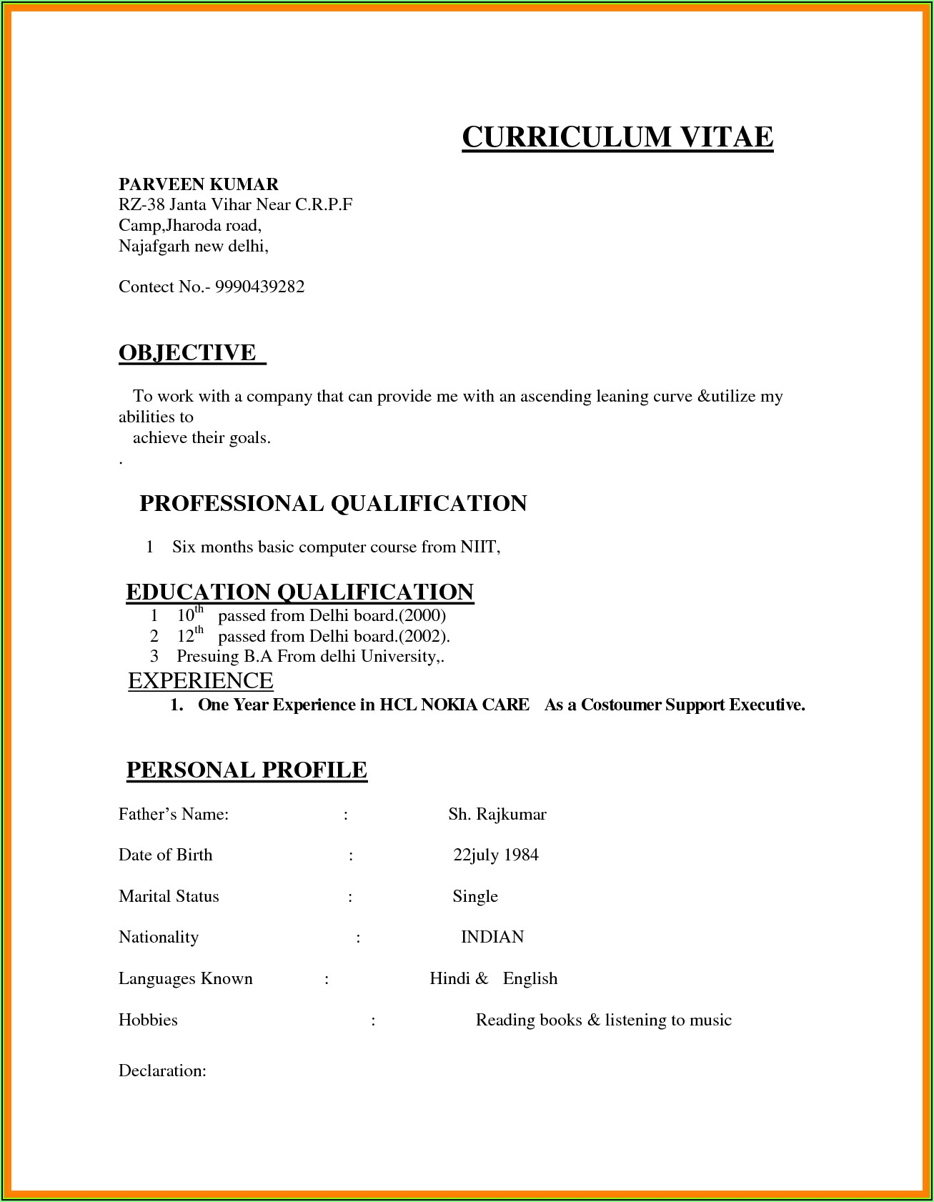 Sample Resume Format For Mis Executive