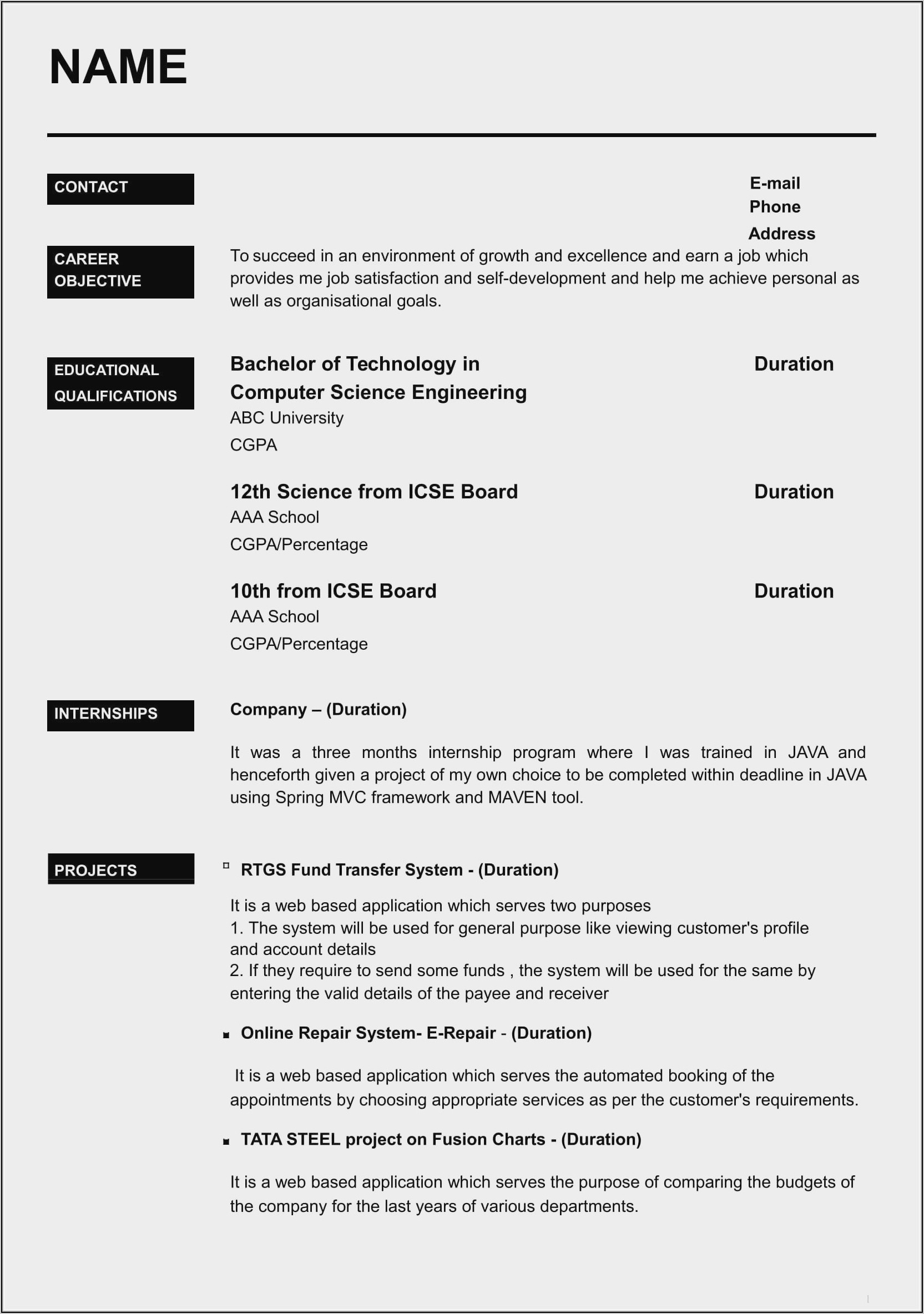 Sample Resume Free Download For Freshers
