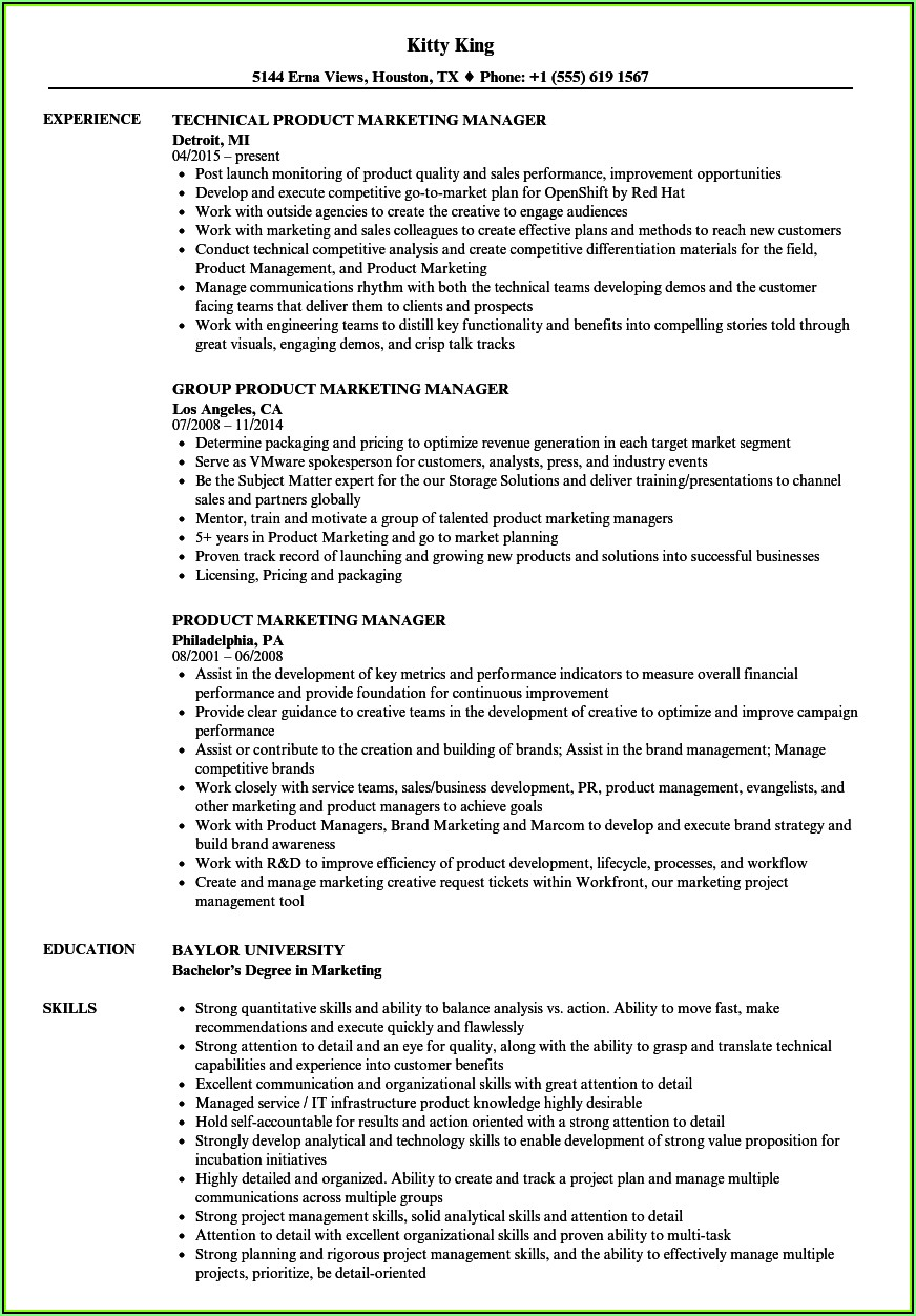 Samples Of Marketing Manager Resume