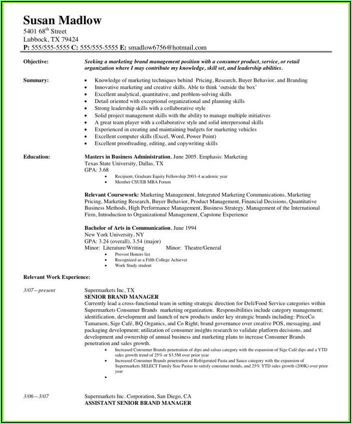 Samples Of Marketing Resumes